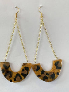 Cheetah Leopard Print Dangling Earrings