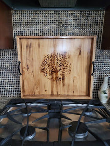 Tree of Life Wood Burned Oversized Ottoman, Bed, or Stove Tray - 25x22x2.5 - Handmade and Fully Finished
