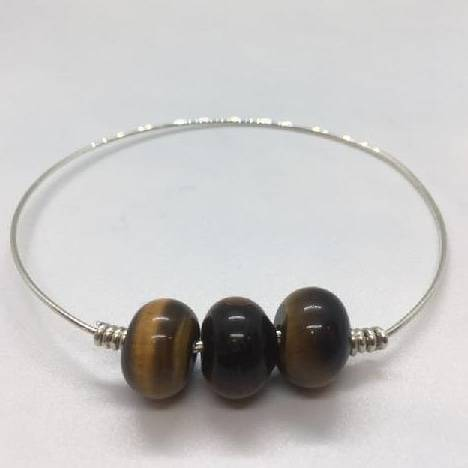 18 Gauge Sterling Silver Slim Bangle With Large Tigers Eye Gemstone Dangle Rondelle Focal Beads