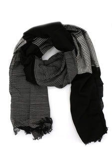 Black Patterned Block Scarf
