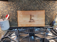 Load image into Gallery viewer, Wood Burned Lighthouse Nautical Charcuterie Board - 11.5x19 inches - Meat & Cheese Tray - Upcycled - Salvaged Wood - Oiled and Ready for Use