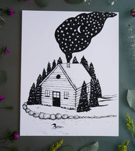 Load image into Gallery viewer, Cabin in the Woods Black and White Art Print