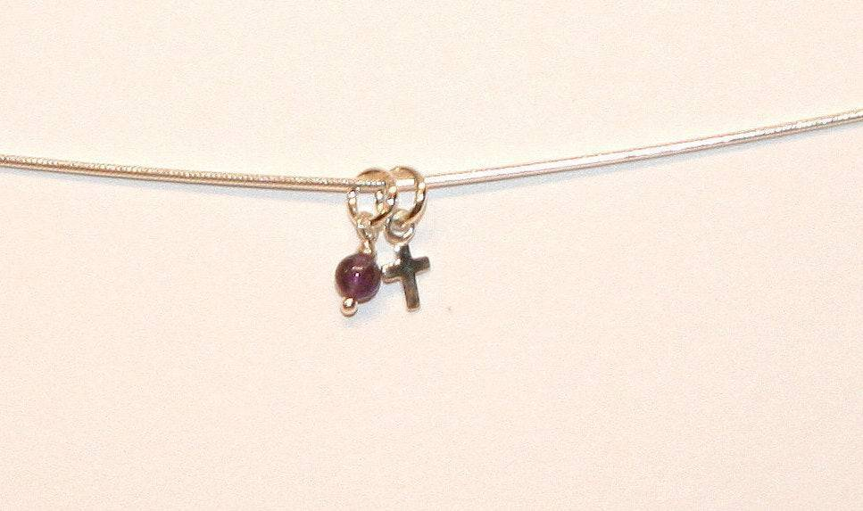 Tiny Cross with Amethyst Gem Drop on Sterling Silver Snake Chain