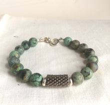 Load image into Gallery viewer, Blue Jasper Bracelet with Peyote Stitched Center Tube Bead