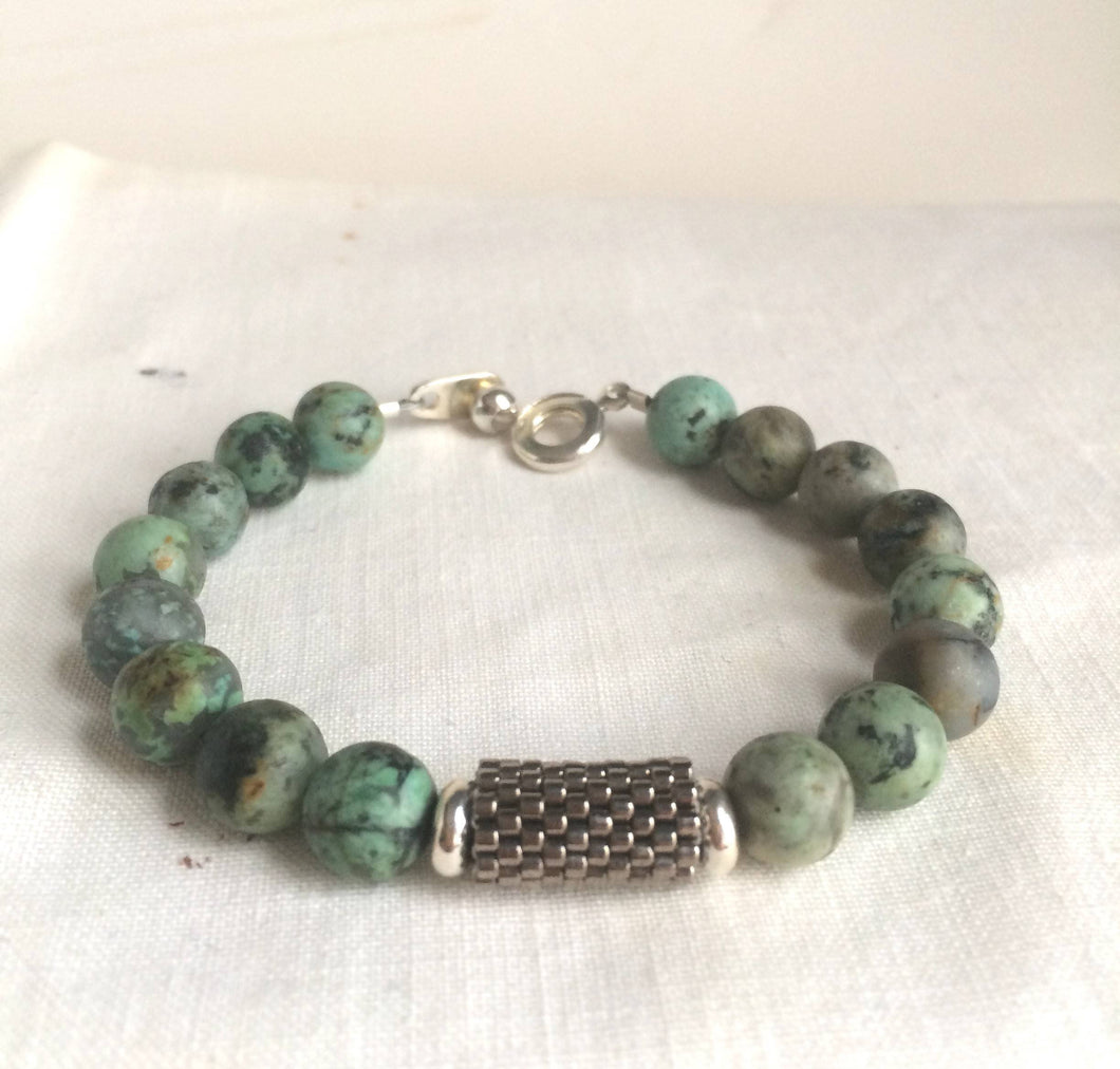 Blue Jasper Bracelet with Peyote Stitched Center Tube Bead