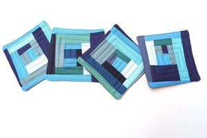 Quilted Fabric Coasters in Shades of Blue, Modern Patchwork Cloth Drink Ware, Set of Four