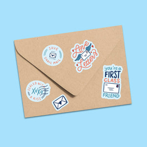 "Happy Mail - Save Snail Mail - Vinyl Kiss-Cut Sticker Sheet - 4x6"" - Blue - Save USPS - Postal Worker Relief - Fundraising - Friendship"