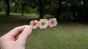 Three Flower Fun Vinyl Sticker