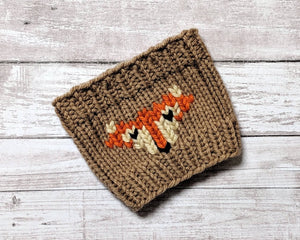 Coffee cup cozy with fox