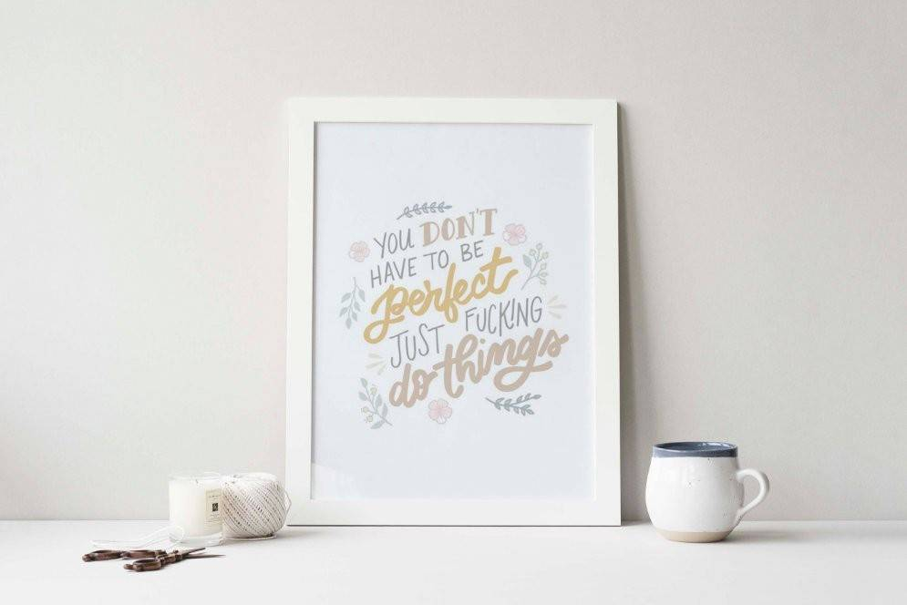 You Don't Have to Be Perfect Frameable Illustrated Print - My Favorite Murder - Quote - Wall Art - Home Decor - Murderino