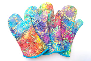 Colorful Quilted Batik Fabric Oven Mitt with Tropical Sunflower Pattern, with Hanging Tab Option