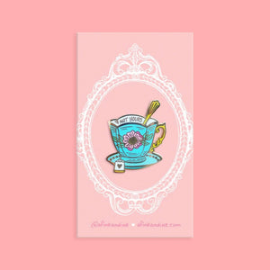 "Not Your Cup of Teacup - Lapel Pins - 1.25"" Hard Enamel - Pink - Vintage - Gold - Feminist - Floral - Victorian - Fashion - Tea - Consent"