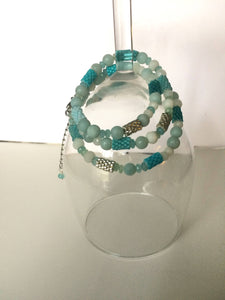 Necklace/Wrap Bracelet with Peyote Beads and Blue Stones