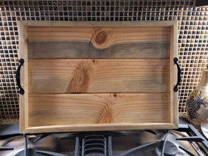 Handmade Tongue and Groove Blue Pine Ottoman or Stove Tray - 22x15.25 inches - Fully Finished with Handles