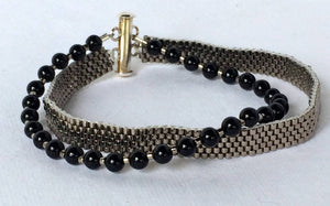 Clearance Sale! Hand made, Peyote Stitched Cuff Bracelet with Onyx Beads