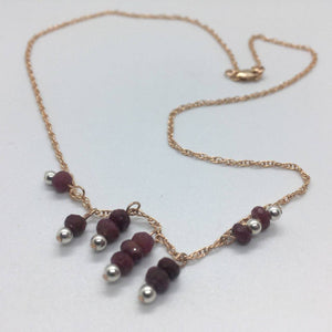 Delicate Ruby Gemstone Necklace with 14K Rose Gold