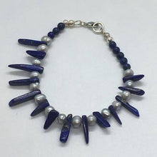 Load image into Gallery viewer, Lapis Lazuli Gemstone Dagger Bracelet with Freshwater Pearls and 925 Silver