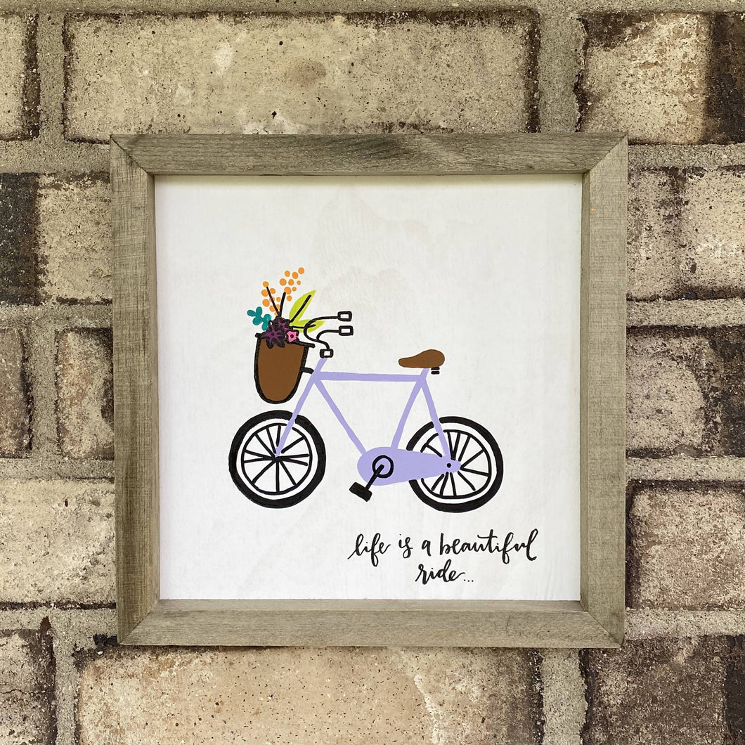 Hand-Painted Bike & Flowers Sign