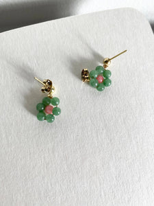 Handmade Daisy Chain Earrings - Elsie Dangle in Pink Coral Sponge Green Aventurine 18K Plated Gold (Made to order)