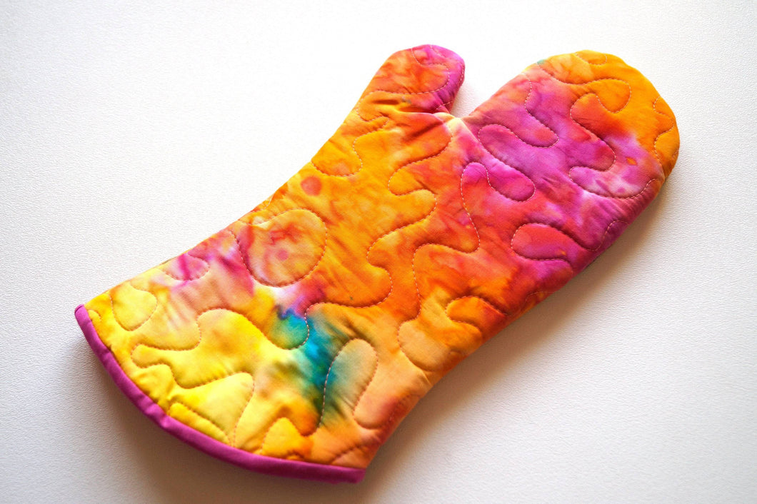 Quilted Oven Mitt in Colorful Batik Fabric, Vibrant Jewel Tone Cloth Kitchen Linen with Hanging Tab Option