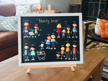 Load image into Gallery viewer, PERSONALIZED FAMILY PORTRAIT/ Original wall art/ Baby Shower/ Framed Family Portrait/ gift for wife girlfriend spouse-Anniversary