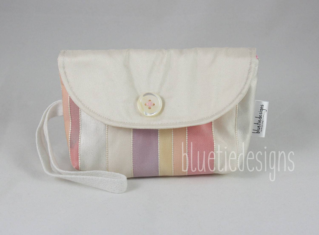 Pastel Striped Japanese Obi Snap Clutch
