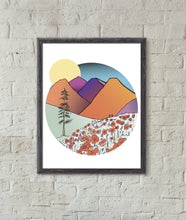 Load image into Gallery viewer, Mountains and Poppies Art Print