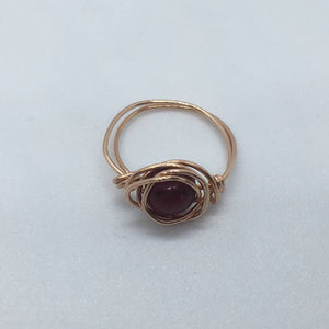 Garnet and 14K Rose Gold Wire Wrapped Ring