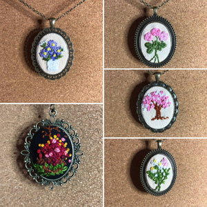 Daisies and Pink Hyacinth- Hand Embroidered Necklace - Metal Pendant