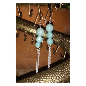 Amazonite Gemstone Beaded Dangle Earring with Sterling Silver