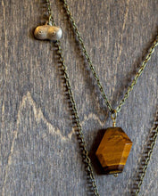 Load image into Gallery viewer, Patron Saint of Badassery Layered Necklace - Tiger Eye