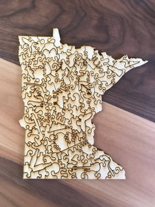 Minnesota Wooden Puzzle - Natural
