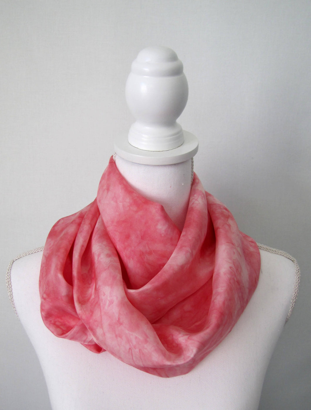 Pink Silk Scarf, Handpainted One-of-a-Kind Shawl, Habotai Woman's Gift Made in USA