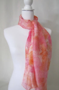 Pink and Orange Silk Scarf, Aqua Blue Handpainted One-of-a-Kind Woman's Shawl Mother's Day Gift Made in USA