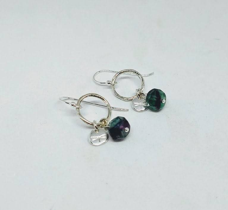 Natural Fluorite and Sterling Silver Dragon Fly Dangle Earrings