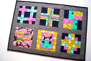 Colorful Quilted Table Topper with Modern Fabric Patchwork