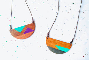 Artesia Hand-painted geometric Wood Necklace