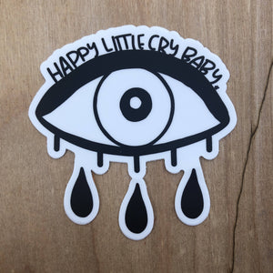 Happy Little Crybaby Black and White Sticker
