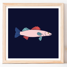 Load image into Gallery viewer, Walleye Fish in Blue Wall Art - Digital Print