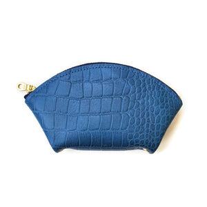 Blue leather wallet / women's wallet or card case in crocodile embossed leather