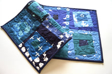Load image into Gallery viewer, Modern Batik Quilted Fabric Patchwork Table Runner, Shades of Blue Cloth Wall Hanging