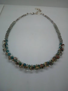 Czech Glass Multi Colored Stones and Blue Bicone Beads Necklace with Sterling Silver