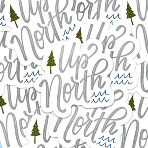"No Place Like Up North - Vinyl Die-Cut Stickers - 3x3"" - White - Minnesota - North - Lake - Cabin"