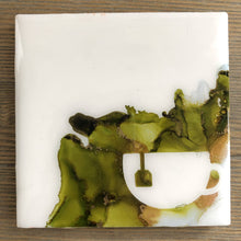 Load image into Gallery viewer, Cup of Green Tea Coasters Square Alcohol Ink Green Copper