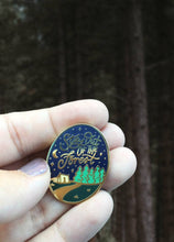 "Load image into Gallery viewer, Stay Out Of The Forest Enamel Pin - My Favorite Murder - Murderino - Lapel Pins - 1.25"" Hard Enamel - Gold - SSDGM"