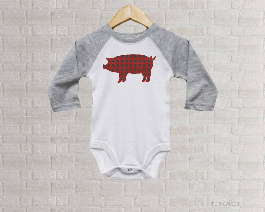 Baby Romper - Buffalo Plaid Pig