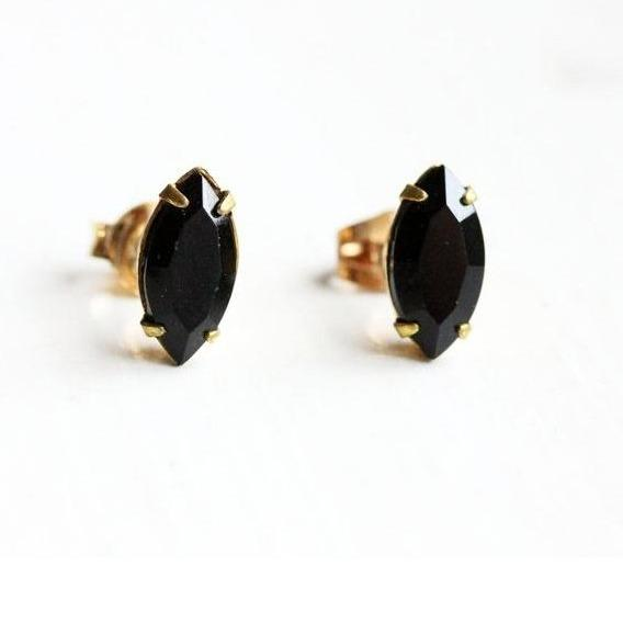 Diament Jewelry Earrings Black Marquis Studs