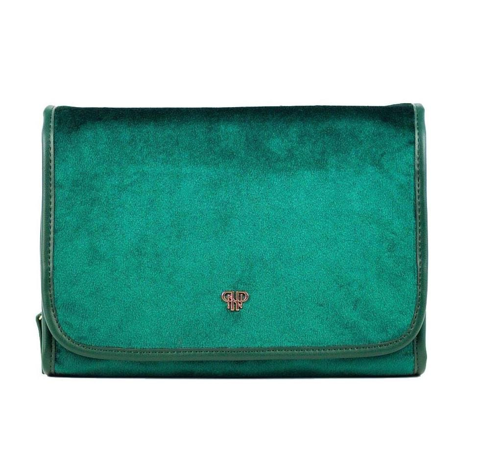 PurseN Beauty Case Velvet Emerald Getaway Toiletry Case