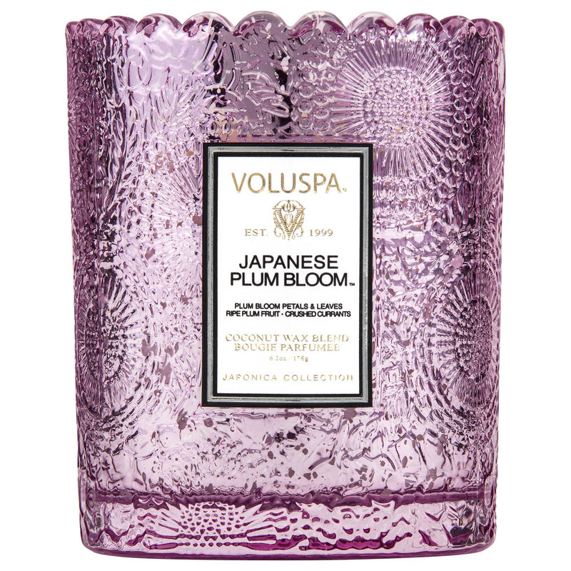 Voluspa Candle Japanese Plum Bloom Scalloped Edged Candle