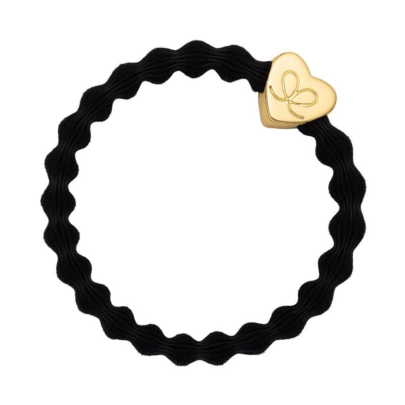 by Eloise LONDON Hair Band Black with Gold Heart Hairband with Charm